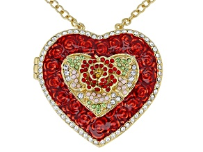 Multicolor Crystal Gold Tone Heart Locket