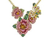 Multicolor Crystal Gold Tone Floral Necklace