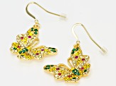 Multicolor Crystal Gold Tone Butterfly Earrings