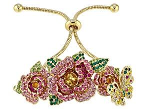 Multicolor Crystal Gold Tone Floral Bolo Bracelet