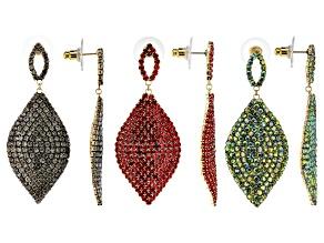 Multicolor Crystal Gold Tone Dangle Earrings Set Of 3