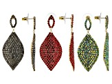 Multicolor Crystal Gold Tone Dangle Earrings Set Of 3
