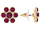 Multicolor Crystal Flower Stud Earrings Set of 7