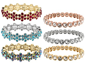 Multicolor Crystal Tri-color Flower Stretch Bracelet Set Of 6