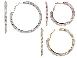 White Crystal Tri-Color Hoop Earrings Set Of 3