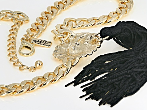 White Crystal Gold Tone Lion Face Tassel Statement Necklace