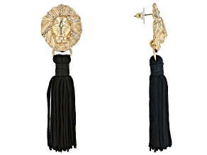 White Crystal Gold Tone Lion Face Tassel Earrings