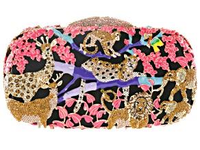 Multicolor Crystal Enamel Gold Tone Jungle Themed Clutch