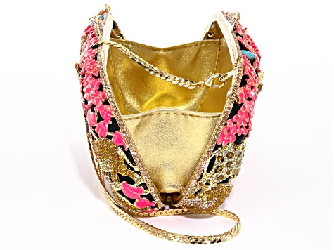 Multicolor Crystal Enamel Gold Tone Jungle Themed Clutch