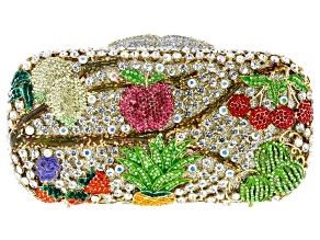 Multicolor Crystal Gold Tone Fruit Themed Clutch