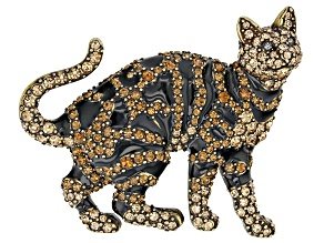 Multicolor Crystal Antiqued Bronze Tone Tabby Cat Brooch