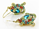 Shiny Gold Tone Multicolor Crystal Lizard Earrings