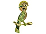 Multicolor Crystal, Shiny Gold Tone Cockatoo Brooch