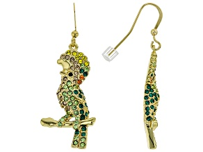 Multicolor Crystal, Shiny Gold Tone Cockatoo Earrings