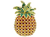 Multicolor Crystal Shiny Gold Tone Pineapple Brooch
