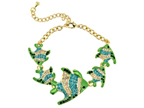 Multicolor Crystal Gold Tone Angelfish Bracelet