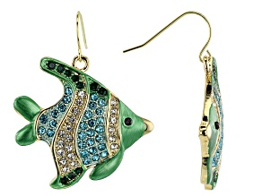 Multicolor Crystal Gold Tone Angelfish Dangle Earrings