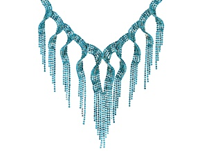 Blue Crystal Silver Tone Fringe Statement Necklace