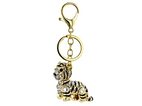 Gold Tone White Crystal Tiger Keychain