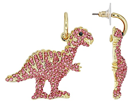 Pink Crystal Gold Tone Dinosaur Dangle Earrings