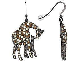 Multicolor Crystal Gunmetal Tone Giraffe  Earrings