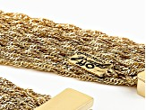 Yellow Gold Tone 35-Row Snake Link Chain Necklace
