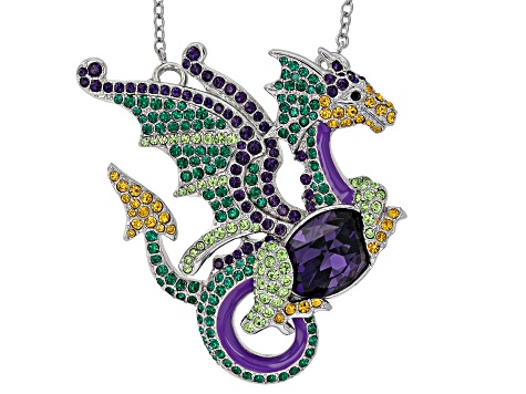 Multicolor Crystal Silver tone Dragon Pin/Pendant With Chain
