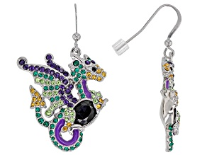 Multicolor Crystal Silver tone Dragon Earrings