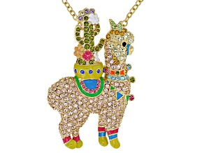 Multicolor Crystal Shiny Gold Tone Llama  Pin And Pendant With Chain
