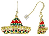 Multicolor Crystal Shiny Gold Tone Sombrero Earrings