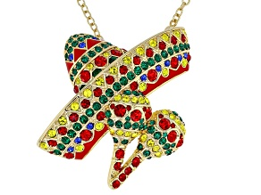 Multicolor Crystal Shiny Gold Tone Sombrero Pin And Pendant With Chain