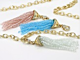 Multicolor Beads Gold Tone Set Of 3 Removable Tassel Pendants With Chain