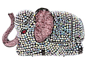 Multicolor Crystal Gunmetal Tone Elephant Clutch