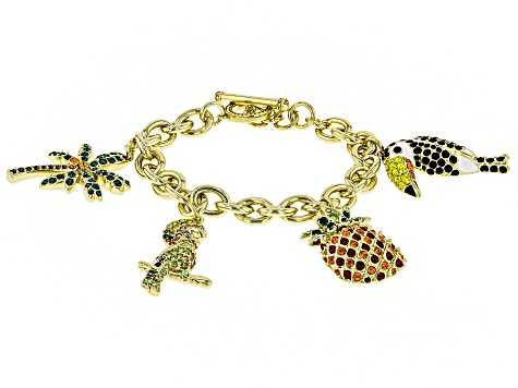 Multicolor Crystal Gold Tone Parrot, Pineapple, Palm Tree Charm Bracelet