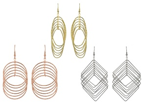 Gold, Silver And Rose Tone Geometric Hoop Earring Set Of 3