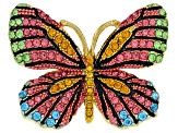 Multicolor Crystal Gold Tone Butterfly Statement Ring