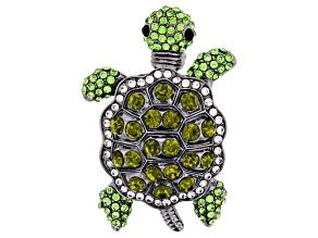 Multicolor Crystal Gunmetal Tone Turtle Brooch