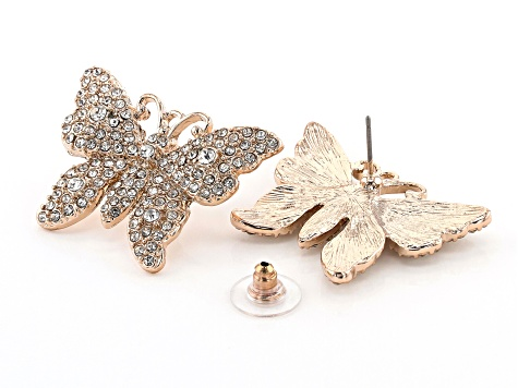 White Crystal, Tri-color Set Of 3 Butterfly Earrings