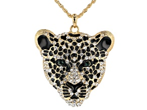 White And Green Crystal Black Enamel Gold Tone Tiger Face Necklace