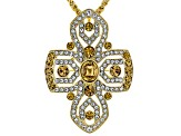 White and Champagne Crystal Gold Tone Cross Pin/Pendant With Chain