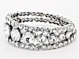 White Crystal Silver Tone Coil Adjustable Bracelet