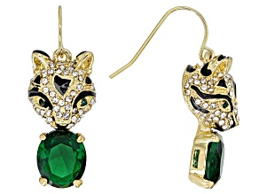 White And Green Crystal Black Enamel Gold Tone Jaguar Earrings