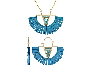 Blue Crystal, Gold Tone, Fan Tassel Earrings and Necklace Set