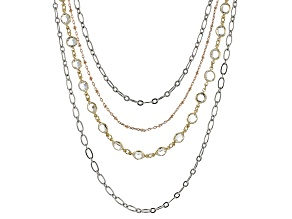 White Crystal Tri-color Multi-strand chain Necklace