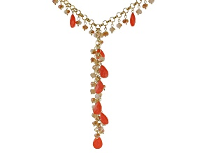 Coral Color Crystal, Gold tone Y Necklace