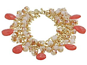 Coral Color Crystal, Gold tone Statement Bracelet