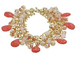 Coral Color Crystal, Gold tone Statement Bracelet