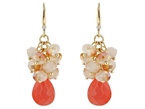 Round white, Coral Color Crystal, Gold tone Earrings