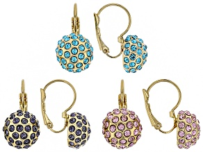 Multicolor Crystal Gold Tone Earring Set Of 3