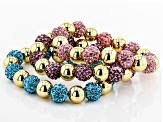 Gold Tone Multicolor Crystal Set of 3 Stretch Bracelets